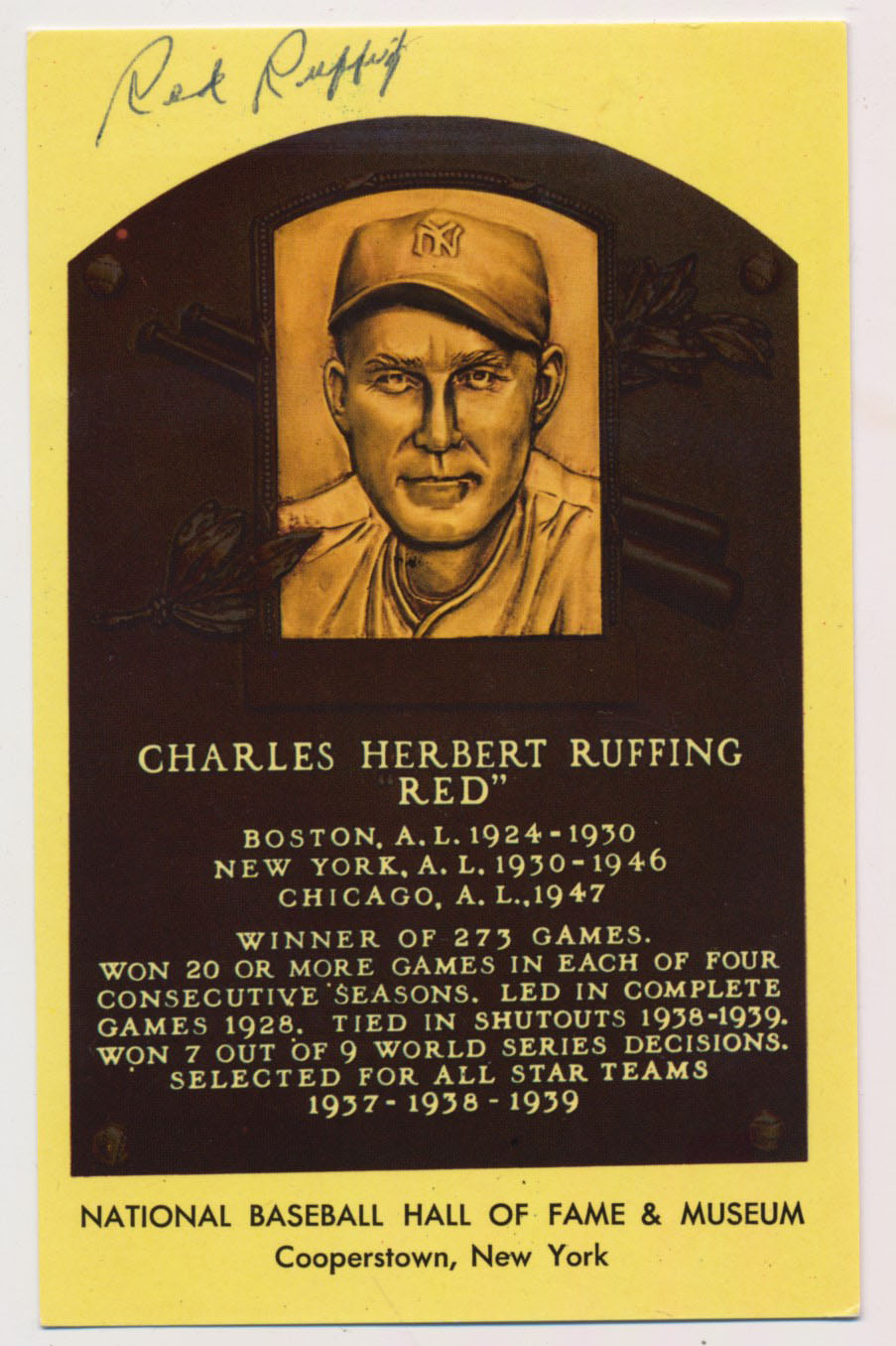 Yellow HOF Plaque 144 Red Ruffing 9