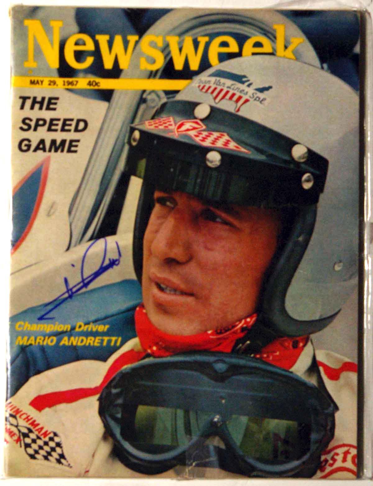Lot #965  Program  Andretti, Mario Signed 1967 Newsweek (JSA LOA) Cond: 9.5