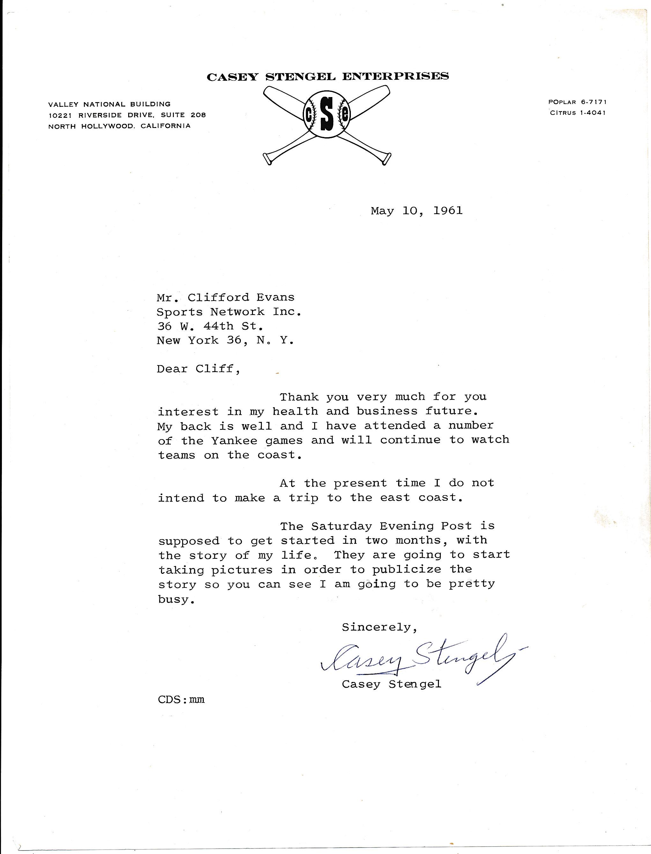 Letter  Stengel, Casey 1961 TLS 9.5