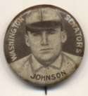 1910 Sweet Caporal Pins 75.1 Walter Johnson (small letters) Ex