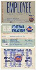 1965   Collection of 25 Mets Employee Passes Ex+