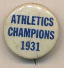 1931 Pin  Philadelphia As World Series Pin Ex-Mt/NM