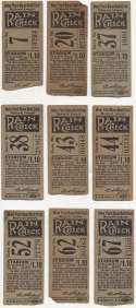 1934 Ticket  Collection of 9 different 1934 NY Giants tickets VG-Ex