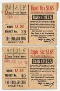 1938 Ticket  Chicago Cubs (7/10/1938 - pair of 2) VG-Ex