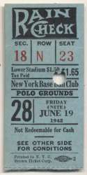 1942 Ticket  NY Giants Home (6/19/42) Good