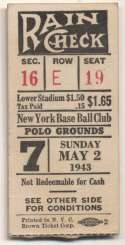 1943 Ticket  NY Giants Home (5/2/43) VG-Ex/Ex
