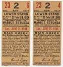 1944 Ticket   Brooklyn Dodgers (6/25/1944) - Matched Pair  Ex-Mt mk