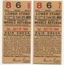 1944 Ticket   Brooklyn Dodgers (7/29/1944) - Matched Pair  Ex-Mt
