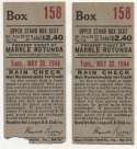 1944 Ticket   Brooklyn Dodgers (5/30/1944) - Matched Pair  GVG