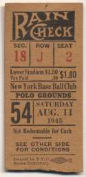 1945 Ticket  NY Giants Home (8/11/45) Good
