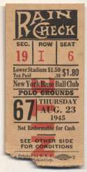 1945 Ticket  NY Giants Home (8/23/45) VG-Ex