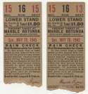 1945 Ticket   Brooklyn Dodgers (5/20/1945) - Matched Pair  VG mk