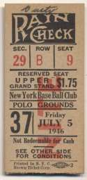 1946 Ticket  NY Giants Home (7/5/46) Ex-Mt mk