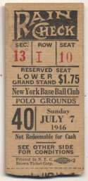 1946 Ticket  NY Giants Home (7/7/46) VG-Ex