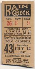1947 Ticket  NY Giants Home (7/12/47) Ex