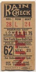 1947 Ticket  NY Giants Home (8/21/47) VG-Ex/Ex