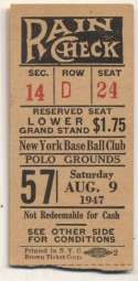 1947 Ticket  NY Giants Home (8/9/47) VG-Ex/Ex mk