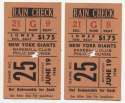 1948 Ticket  NY Giants (6/19/1948) - Matched Pair Good