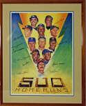 Large Print  500 Home Run Club Signed/Framed Poster 9 JSA LOA (FULL)