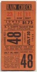 1950 Ticket  NY Giants Home (7/30/50) VG