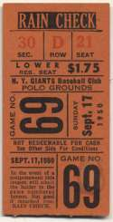 1950 Ticket  NY Giants Home (9/17/50) VG-Ex