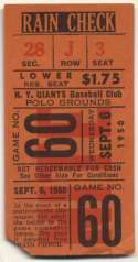 1950 Ticket  NY Giants Home (9/6/50) Good