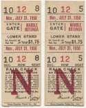 1950 Ticket   Brooklyn Dodgers (7/31/1950) - Matched Pair  VG-Ex/Ex