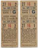 1951 Ticket   Brooklyn Dodgers (9/9/1951) - Matched Pair  VG-Ex