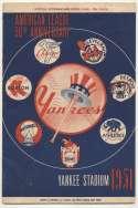 1951 Scorecard  Yankees (Mantle No 6, 6/24 vs Indians) Ex