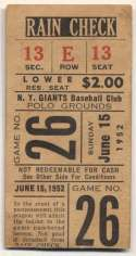 1952 Ticket  NY Giants Home (6/15/52) VG-Ex/Ex