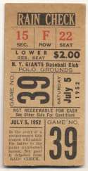 1952 Ticket  NY Giants Home (7/5/52) VG-Ex/Ex