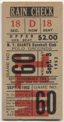 1952 Ticket  NY Giants Home (9/3/52) Ex