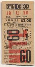 1952 Ticket  NY Giants Home (9/3/52) VG-Ex/Ex