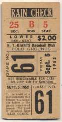 1952 Ticket  NY Giants Home (9/5/52) Ex-Mt