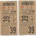 1952 Ticket  NY Giants (7/5/1952) - Matched Pair VG mk