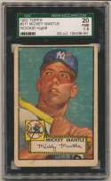 1952 Topps 311 Mickey Mantle SGC 1.5