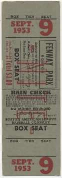 1953 Ticket  Red Sox Full Home Ticket (9/9/53) Ex++