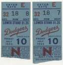 1953 Ticket   Brooklyn Dodgers (7/10/1953) - Matched Pair  VG