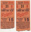 1953 Ticket   Brooklyn Dodgers (8/15/1953) - Matched Pair  VG-Ex