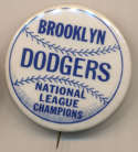 1956 Pin  Brooklyn Dodgers World Series (1 3/4 Inch) Ex-Mt