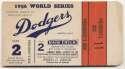 1956 Ticket  World Series Game 2 Ex+