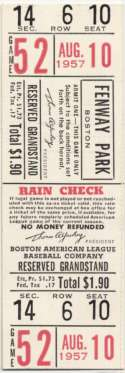 1957 Ticket  Red Sox Full Home Ticket (8/10/57) NM