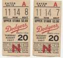 1957 Ticket   Brooklyn Dodgers (8/20/1957) - Matched Pair  Ex