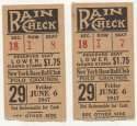 1947 Ticket  NY Giants (6/6/1947) - Matched Pair VG-Ex