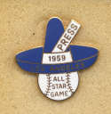 1959 Press Pin  All Star Game Nm-Mt