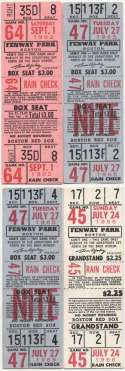 1962 Ticket  Collection of 15 Red Sox Full Tickets 1962-1974 Ex-Mt