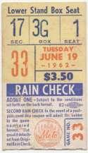 1962 Ticket  NY Mets (6/19/1962) VG+