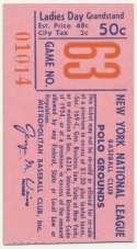 1962 Ticket  NY Mets (8/20/1962) Ex-Mt mk