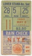 1963 Ticket  NY Mets (5/3/1963) VG+