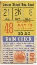 1963 Ticket  NY Mets (7/13/1963) VG-Ex/Ex